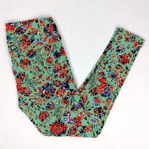 LuLaRoe Tall Curvy Floral turquoise Leggings
